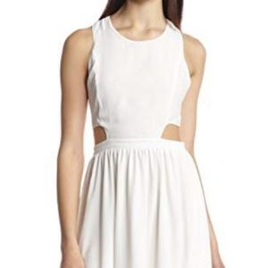 NWT White Cut Out High Low Asymmetrical Hem Dress